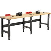 "96""W X 30""D Birch Butcher Block Square Edge Workbench - Adjustable Height - Black"