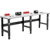 "96""W X 36""D Plastic Laminate Square Edge Workbench - Adjustable Height - Black"