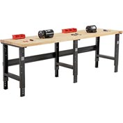 "96""W X 36""D Maple Butcher Block Square Edge Workbench - Adjustable Height - Black"