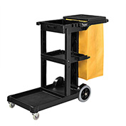 Global™ Janitor Cart Black with 25 Gallon Vinyl Bag