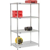 "63""H Nexel Chrome Wire Shelving - 36""W X 24""D (400 lb cap)"
