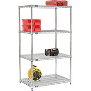 "86""H Nexel Chrome Wire Shelving - 36""W X 24""D (400 lb cap)"