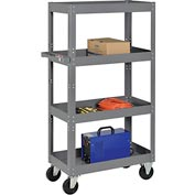 Multi-Level Steel Shelf Truck with 4 Shelves 30 x 16 800 Lb. Capacity