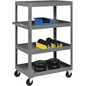 Multi-Level Steel Shelf Truck with 4 Shelves 36 x 24 800 Lb. Capacity