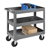 3 Shelf Deep Tray Steel Stock Cart 30x16 800 Lb. Capacity