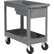 2 Shelf Deep Tray Steel Stock Cart 30x16 800 Lb. Capacity with 1 Drawer