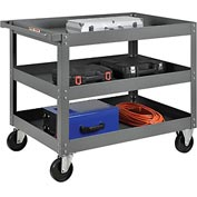 3 Shelf Deep Tray Steel Stock Cart 36x24 800 Lb. Capacity