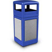 42 Gallon StoneTec® 72041699 Square Receptacle with Dome Lid - Blue w/Ashtone Panels