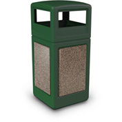 42 Gallon StoneTec® 72045499 Square Receptacle with Dome Lid - Forest Green w/Riverstone Panels