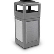42 Gallon StoneTec® 72051199 Square Receptacle with Ashtray Lid - Gray w/Ashtone Panels