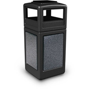42 Gallon StoneTec® 72051399 Square Receptacle with Ashtray Lid - Black w/Pepperstone Panels