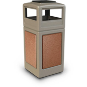 42 Gallon StoneTec® 72051699 Square Receptacle with Ashtray Lid - Beige w/Sedona Panels
