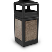 42 Gallon StoneTec® 72055299 Square Receptacle with Ashtray Lid - Black w/Riverstone Panels
