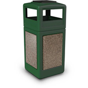 42 Gallon StoneTec® 72055499 Square Recptacle w/Ashtray Lid - Forest Green w/Riverstone Panels