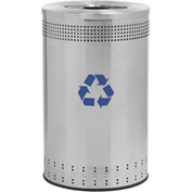 Precision Series® 782729 Imprinted 360 Stainless Steel Receptacle with Recycling Lid, 45 Gallon