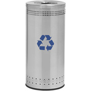 Precision Series® 78182999 Imprinted 360 Stainless Steel Receptacle w/Recycling Lid, 25 Gallon