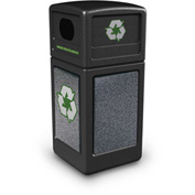 StoneTec® 72231399 Recycle42 Container - Black w/Pepperstone Panels