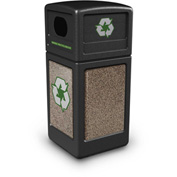 StoneTec® 72235299 Recycle42 Container - Black w/Riverstone Panels