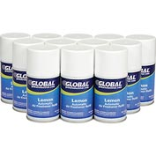 Global™ Automatic Air Freshener Refills, Lemon 7 oz. Can - 12 Refills/Case