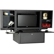 Counter Top Fold Out Computer Security Cabinet - Metal / Black