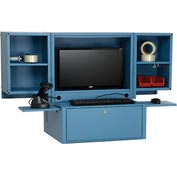 Counter Top Fold Out Computer Security Cabinet - Metal / Blue