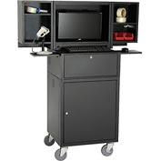 Mobile Fold-Out Computer Security Cabinet, Black, Unassembled