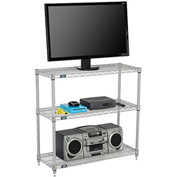 Nexel - 60 x 14 (3) Shelf Media Stand - Silver Epoxy