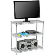 Nexel - 60 x 14 (3) Shelf Media Stand - Chrome