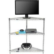 Nexel - 32 x 24 (3) Shelf Corner Media Stand - Chrome