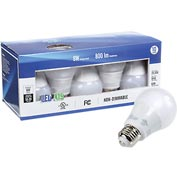 Way To Go LED A19 Light Bulb, 8W, 800 Lumens, 2700K, Non Dimmable, UL, cUL Approved - Pkg Qty 10
