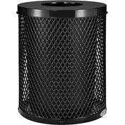 Global Industrial™ Thermoplastic Coated 32 Gallon Mesh Receptacle w/Flat Lid - Black