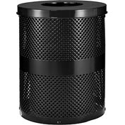 Global™ Thermoplastic Coated 32 Gallon Perforated Receptacle w/Flat Lid - Black