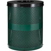Global Industrial™ Thermoplastic Coated 32 Gallon Perforated Receptacle w/Flat Lid - Green