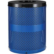 Global™ Thermoplastic Coated 32 Gallon Perforated Receptacle w/Flat Lid - Blue