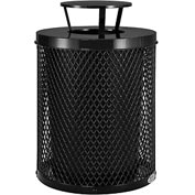 Global™ Thermoplastic Coated 32 Gallon Mesh Receptacle w/Rain Bonnet Lid - Black