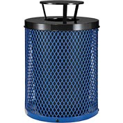 Global™ Thermoplastic Coated 32 Gallon Mesh Receptacle w/Rain Bonnet Lid - Blue