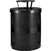Global Industrial™ Thermoplastic 32 Gallon Perforated Receptacle w/Rain Bonnet Lid - Black