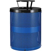 Global™ Thermoplastic Coated 32 Gallon Perforated Receptacle w/Rain Bonnet Lid - Blue