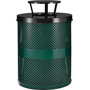 Global™ Thermoplastic Coated 32 Gallon Perforated Receptacle w/Rain Bonnet Lid - Green
