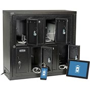 Global™ Tablet & Cell Phone Charging Locker - 8 Door w/Keyed Lock & Hasp and Master Door Open