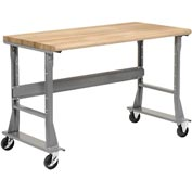 "60""W X 36""D Mobile Workbench Adjustable Height - Ash Butcher Block Safety Top - Black"