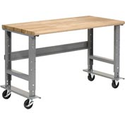 "60""W X 36""D Mobile Workbench Adjustable Height - Ash Butcher Block Safety Top -Gray"
