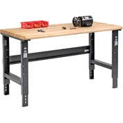 "60""W X 36""D Ash Butcher Block Safety Edge - Adjustable Height - Black"