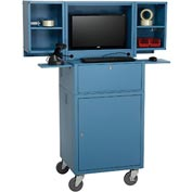 Mobile Fold Out Computer Security Cabinet - Metal / Blue (Assembled)