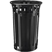 Global™ Outdoor Metal Slatted Waste Receptacle w/Access Door & Flat Lid - 36 Gallon Black