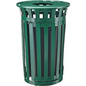 Global™ Outdoor Metal Slatted Waste Receptacle w/Access Door & Flat Lid - 36 Gallon Green