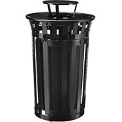 Global™ Outdoor Metal Slatted Waste Receptacle w/Access Door & Rain Bonnet Lid - 36 Gal Black