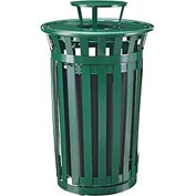 Global™ Outdoor Metal Slatted Waste Receptacle w/Access Door & Rain Bonnet Lid - 36 Gal Green