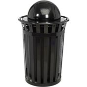 Global™ Outdoor Metal Slatted Trash Receptacle with Dome Lid - 36 Gallon Black