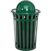 Global™ Outdoor Metal Slatted Trash Receptacle with Dome Lid - 36 Gallon Green